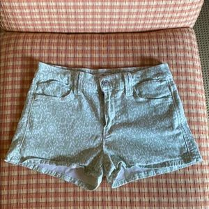 7 Jeans mint green floral printed denim shorts